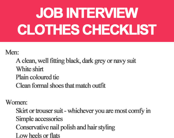 Job interview clothes checklist