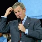 President Bush scratching his head