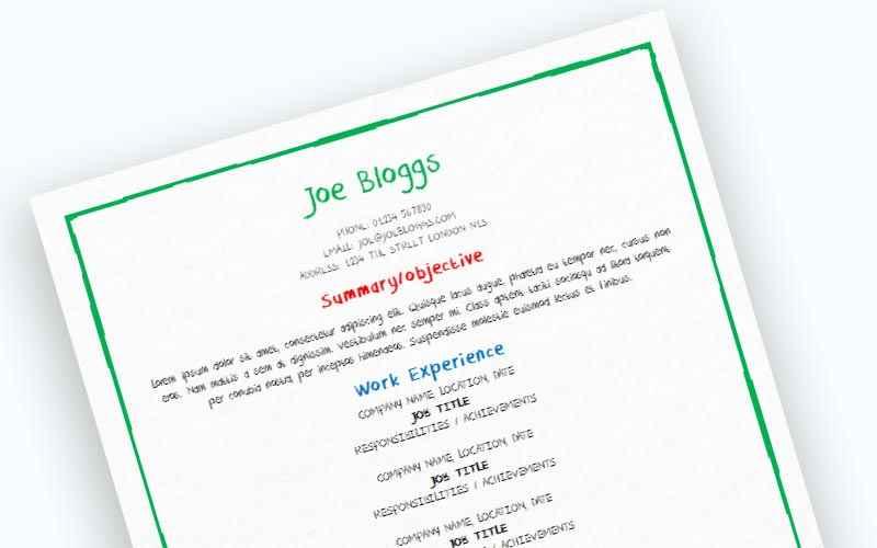 Bright crayon CV template