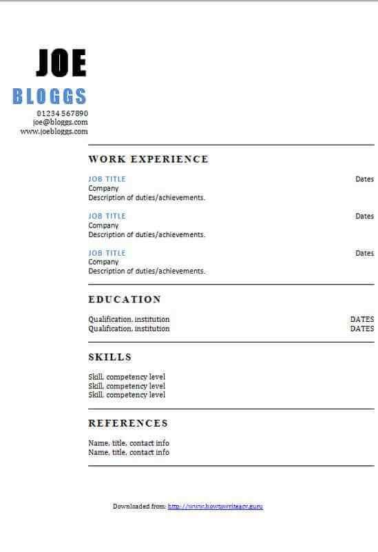 Two column blue accent CV template