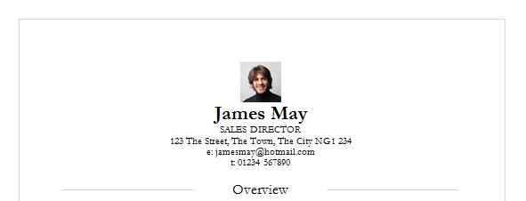 Example of adding a photo to your CV template