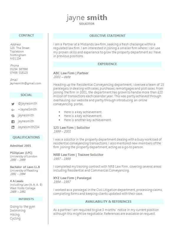 legal cv template