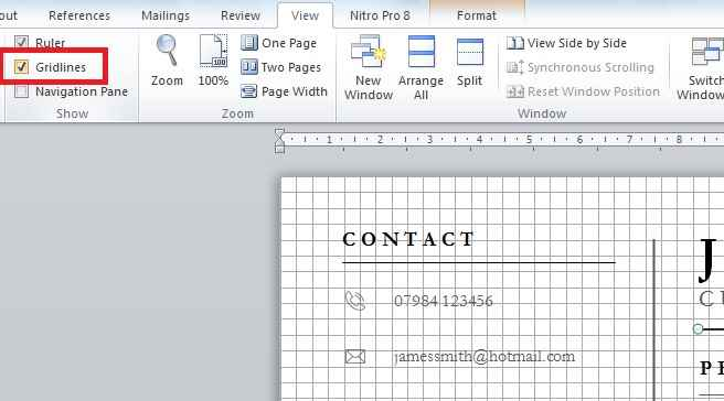 Using gridlines in MS Word