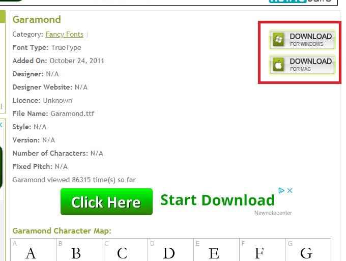 Downloading Garamond free font - step 1