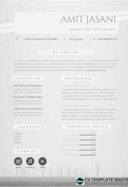 CV template with grey background & two columns
