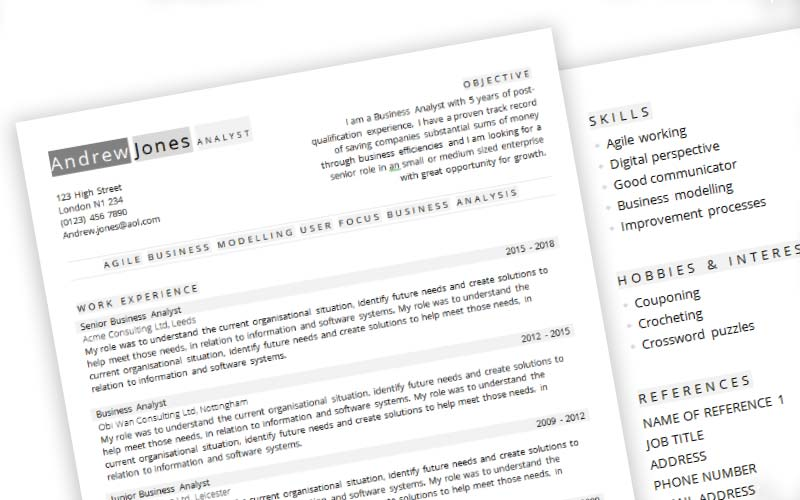 Labels Free CV Template In Microsoft Word CV Template Master