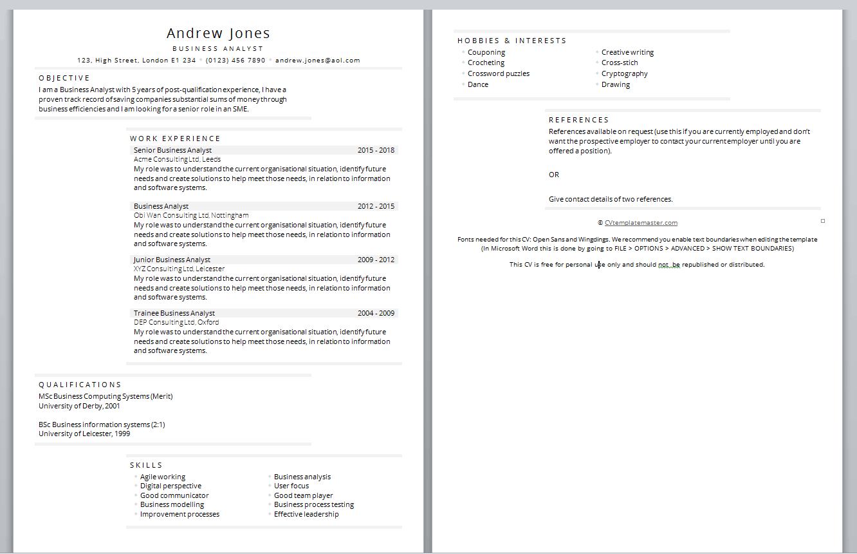 write a cv template