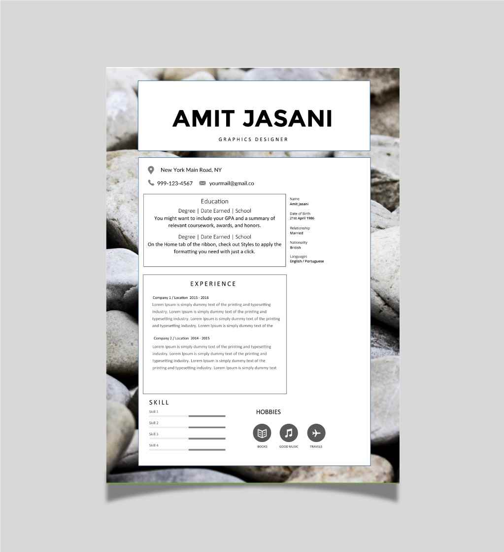cv template with bold headings cv template master