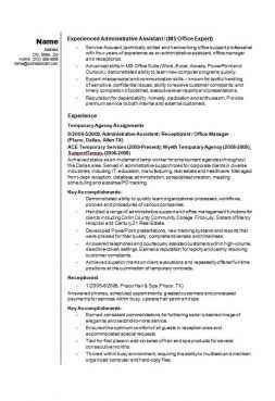 Admin assistant CV/résumé example