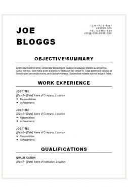 Alternative bold black CV template