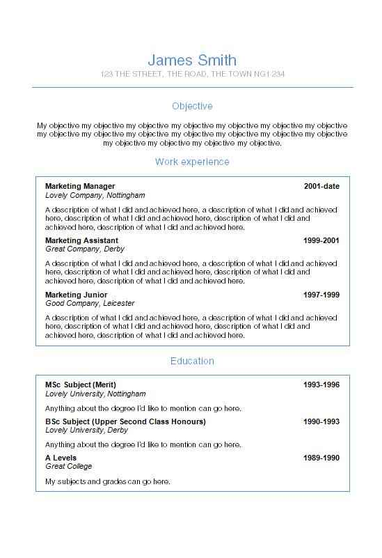 Helvetica CV template in Microsoft Word