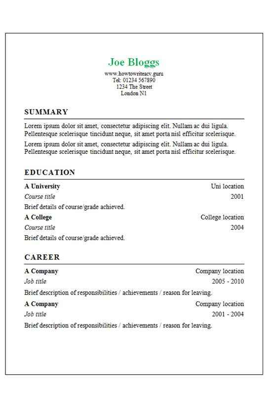 Classic border CV template - CV Template Master