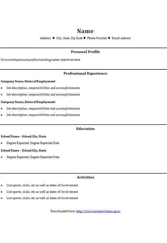 college graduate cv template