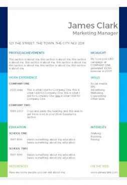 Colour blocks CV template