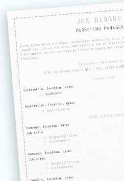 Narrow Lilac CV/résumé template