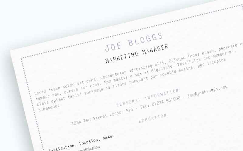Narrow lilac CV template close up