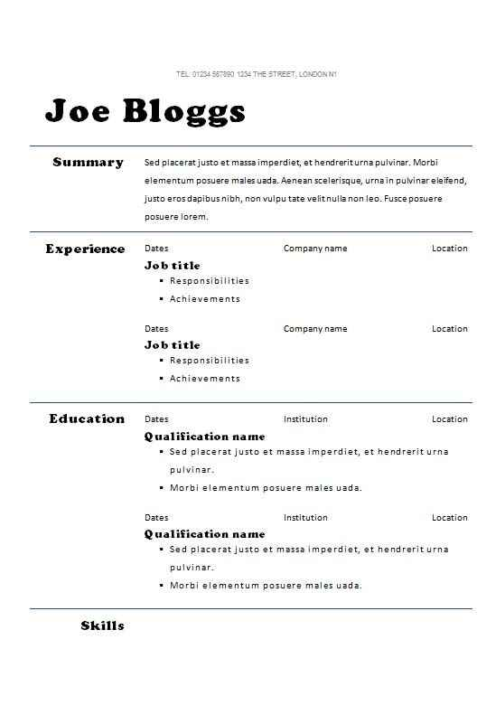 cv template with bold headings
