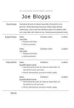 Verdana CV template