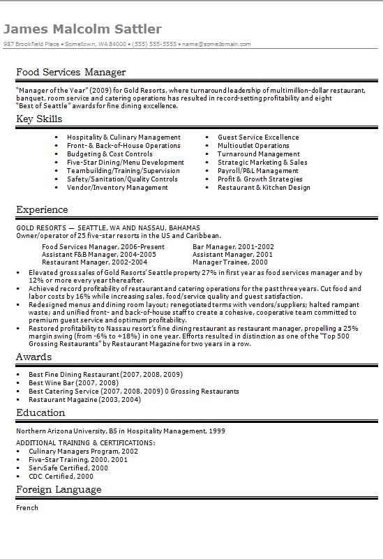 food services manager cv  r u00e9sum u00e9 example