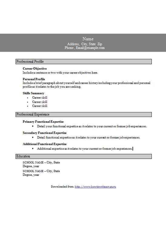 Functional Resume Templates Word With Boxes