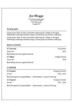 Garamond CV template with border
