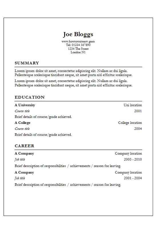 Garamond CV template with classic border - CV Template Master