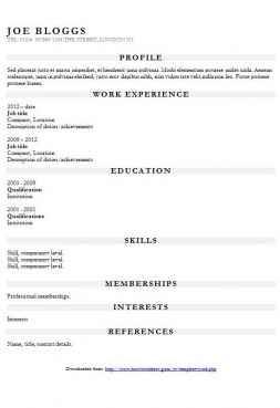 Garamond CV template with grey headers