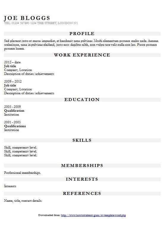 Sample resume headings