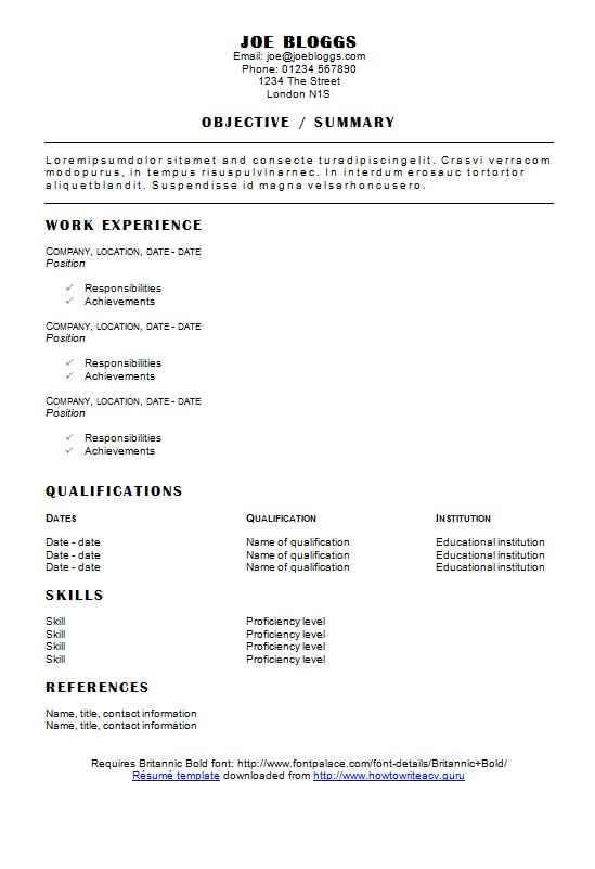 cv info - Cv Resume Template