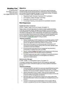 Health information technician Example CV