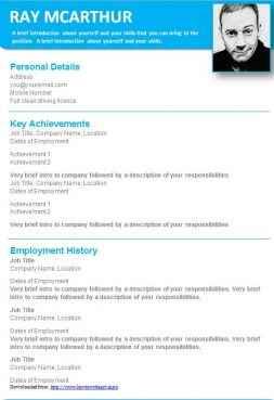 Light blue creative CV template