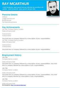 Light blue graphical CV template