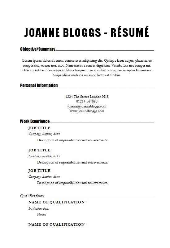 make an impact cv  r u00e9sum u00e9 template