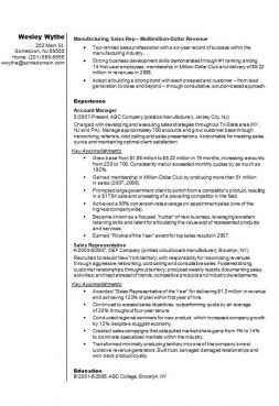 Sales representative CV/résumé example