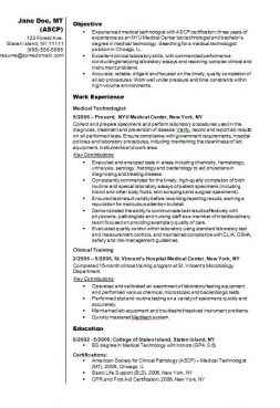 Medical Technologist Example CV