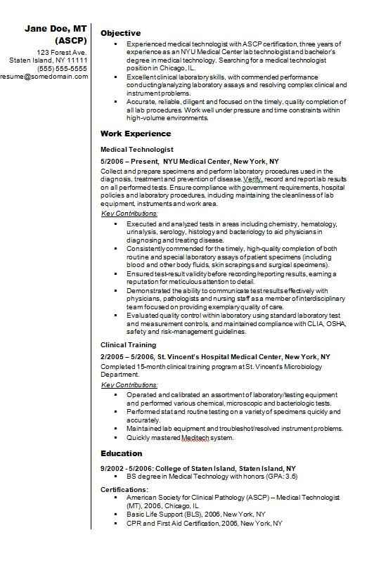 Medical Technologist Cvrsum Example Cv Template Master