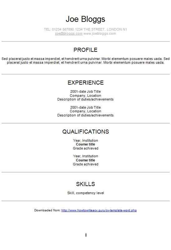 modern centred arial cv template