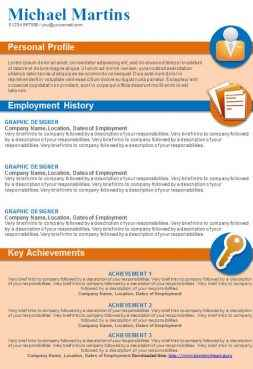 Orange and blue graphical CV template