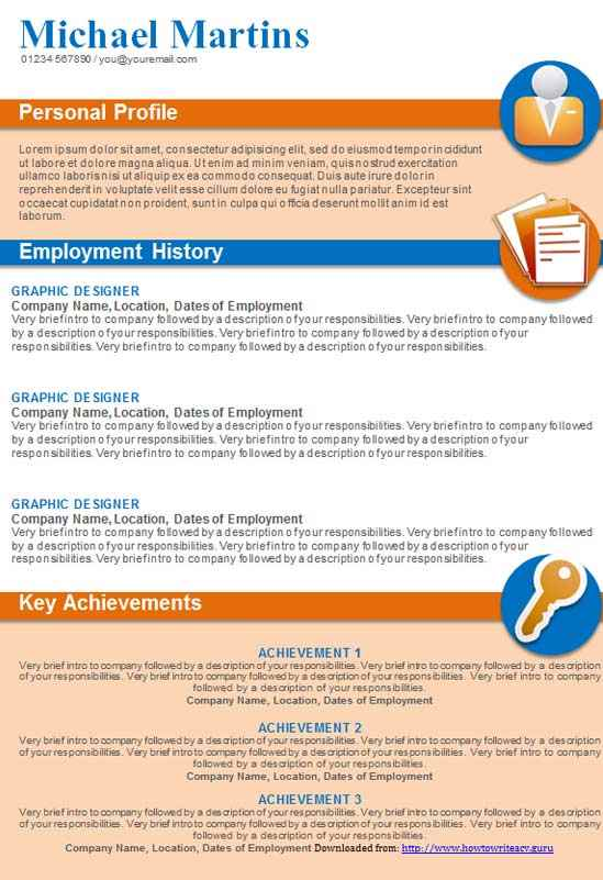 cv template  graphical  in orange and blue