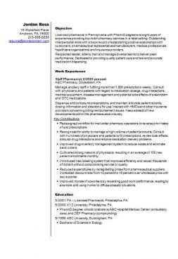 Pharmacist Example CV