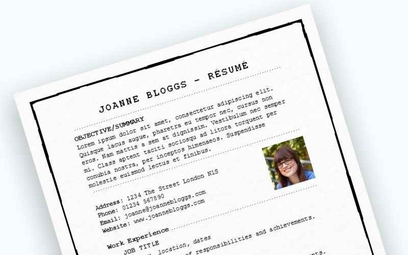 Pieced together CV template preview