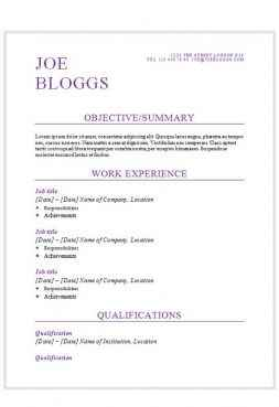 Lovely Purple Flair Resume Template