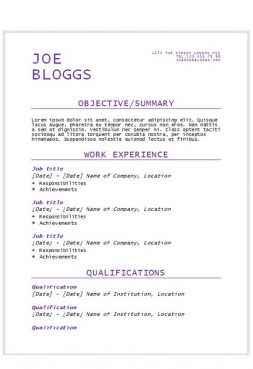 Purple flair resume template