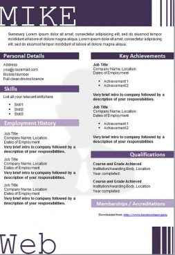 Purple graphical CV template