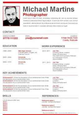 Red graphical CV template