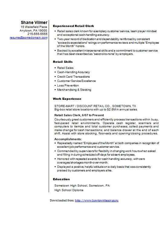 retail sales cv  r u00e9sum u00e9 template  example