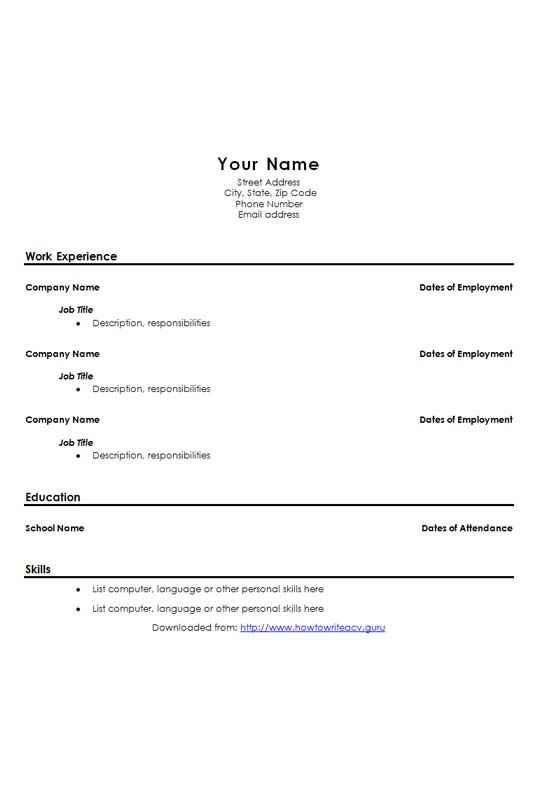 school leavers cv template