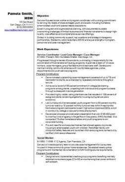 Social Worker Example CV