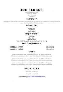 Simple Tahoma CV template