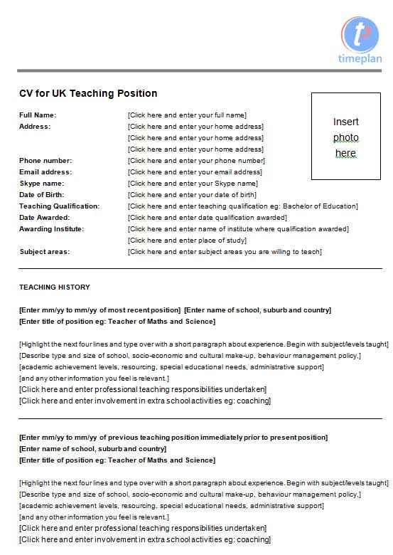 Teacher CV examples templates and guidance CV Template Master